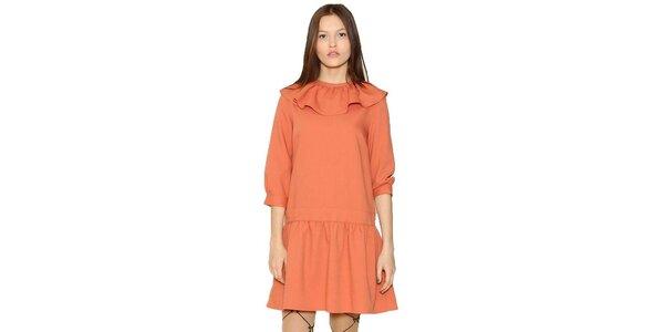 Dámske oranžové šaty s volánikom Pepa Loves
