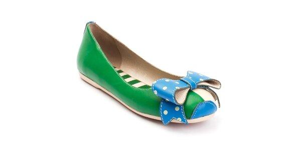 Dámske zeleno-modré balerínky s bodkovanou mašľou Lola Ramona