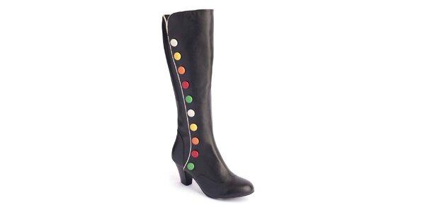 Dámske čierne čižmy s farebnou dekoráciou Lola Ramona