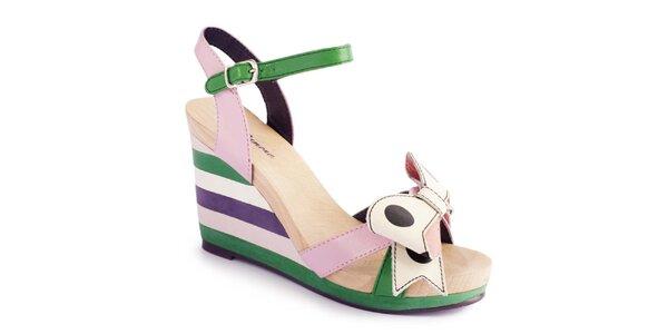 Dámske pastelové sandálky s pruhmi a mašľou Lola Ramona