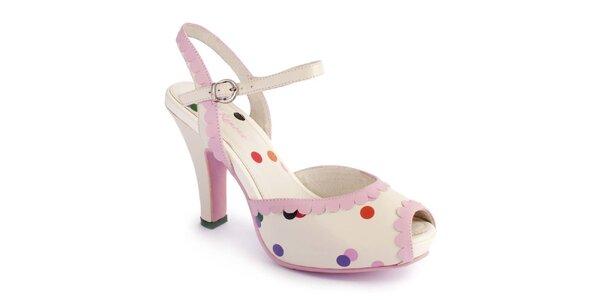Dámske svetlo ružové sandálky Lola Ramona s farebnými bodkami