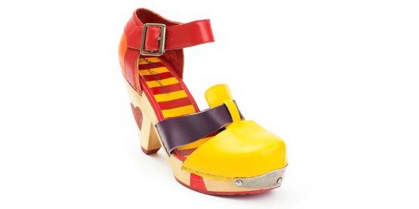 Dámske žlto-červené topánky na opätku Lola Ramona