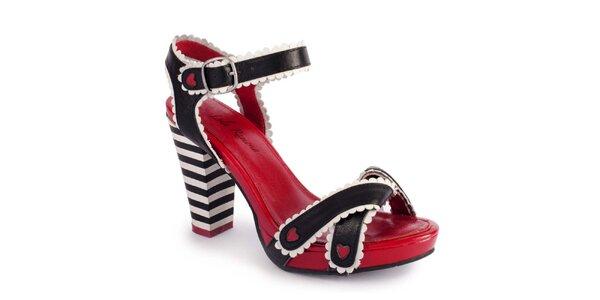 Dámske červené črievičky s čiernymi remienkami Lola Ramona
