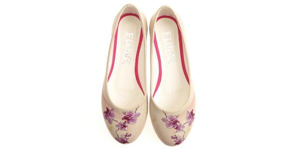 Dámske balerínky s potlačou kvetiny Elite Goby