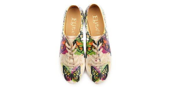 Dámske oxfordky s farebnými motýlikmi Elite Goby