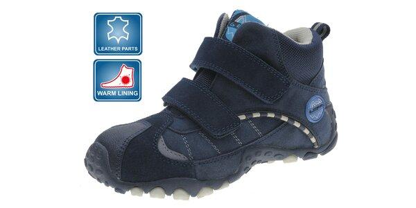 Tmavo modré detské zimné zateplené topánky Beppi