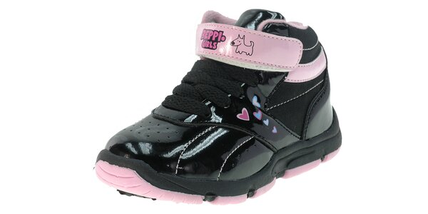 3b99839d41ac Detské čierne lakované tenisky Beppi s ružovými detailami