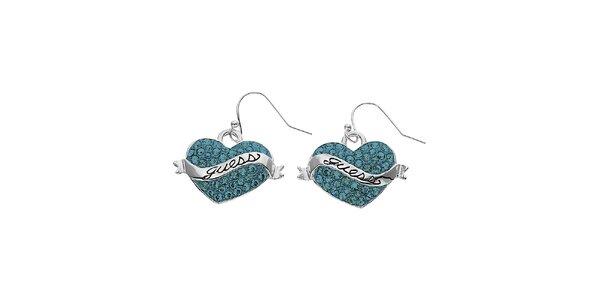 Dámske náušnice Guess srdce s modrými kamienkami