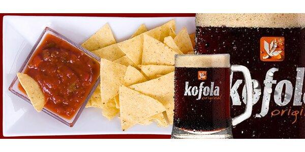 Originál Kofola a mexický nachos
