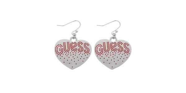 Dámske ocelové náušnice Guess srdce s červenými kamienkami