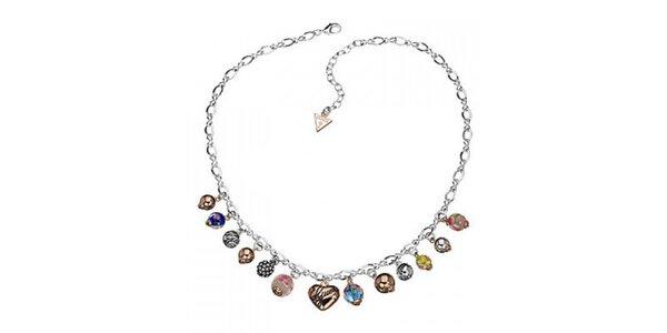 Dámsky ocelový náhrdelník Guess s farebnými príveskami