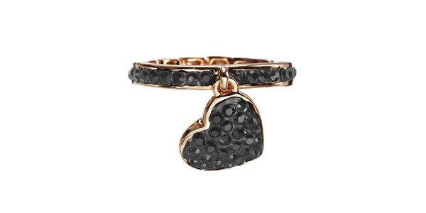 Dámsky prsteň Guess s čiernymi kamienkami a hviezdičkou