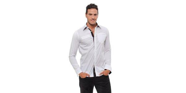 Pánska biela košeľa Bendorff s čiernymi detailami