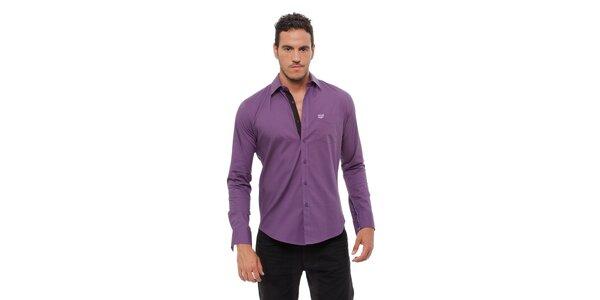 Pánska fialová košeľa Bendorff s čiernymi detailami