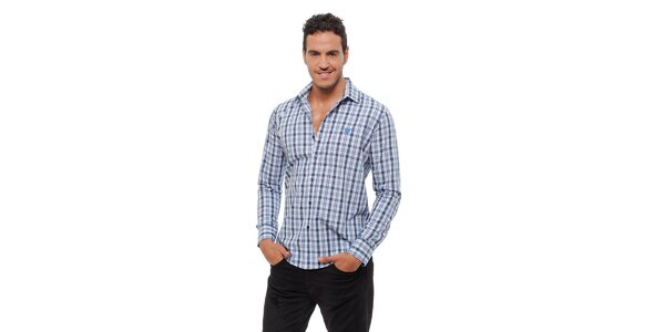 Pánska svetlo modrá kockovaná košeľa Bendorff