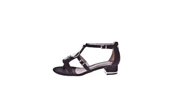 Dámske čierne sandálky s ozdobou Roberto Botella