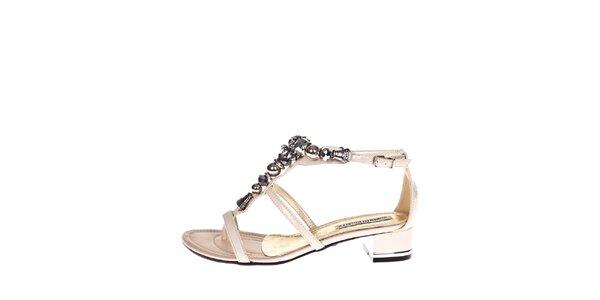 Dámske krémové sandálky s ozdobou Roberto Botella