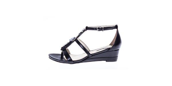 Dámske čierne lesklé sandálky s ozdobou Roberto Botella
