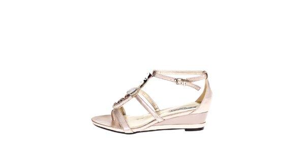 Dámske zlaté sandálky s ozdobou Roberto Botella