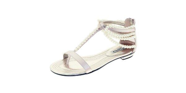 Dámske lesklé sandálky s perličkami Roberto Botella