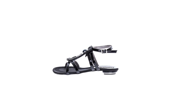 Dámske čierne sandálky s kamienkami Roberto Botella