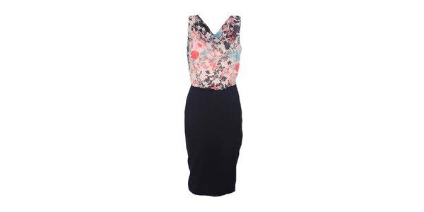 Dámske farebné šaty s čiernou sukňou Estella
