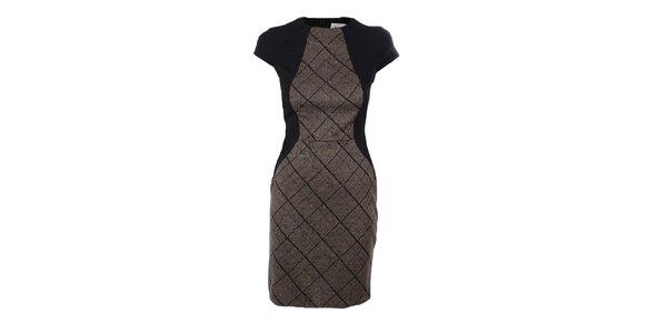 Dámske hnedo-čierne šaty s károvaným vzorom Estella