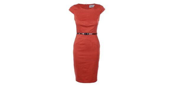 Dámske oranžové púzdrové šaty Estella
