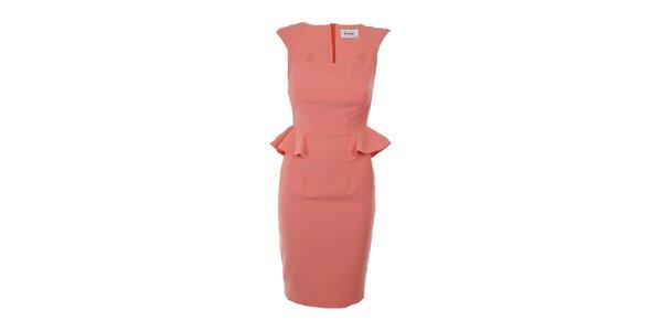 Dámske marhuľové peplum šaty Estella