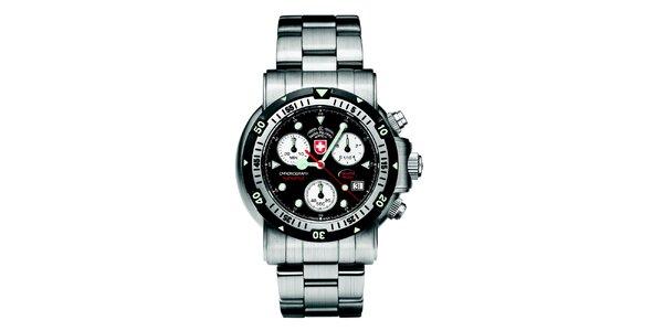 Pánske oceľové hodinky s chronografom a čiernym ciferníkom Swiss Military