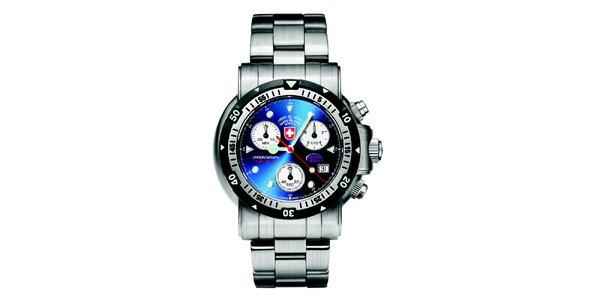 Pánske oceľové hodinky s chronografom a modrým ciferníkom Swiss Military