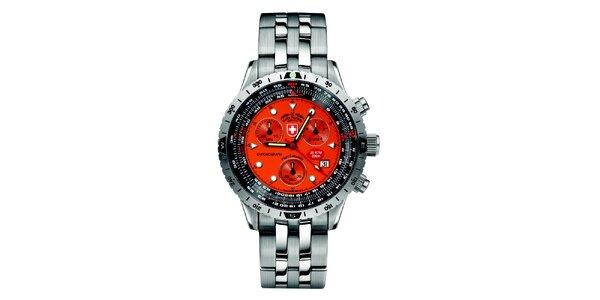 Pánske strieborné hodinky s chronografom a oranžovým ciferníkom Swiss Military