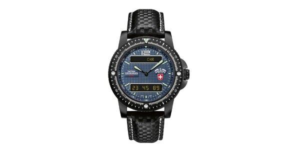 Pánske čierne analogo-digitálne hodinky s modrým ciferníkom Swiss Military