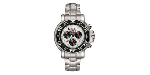 Pánske strieborné hodinky s chronografom Swiss Military