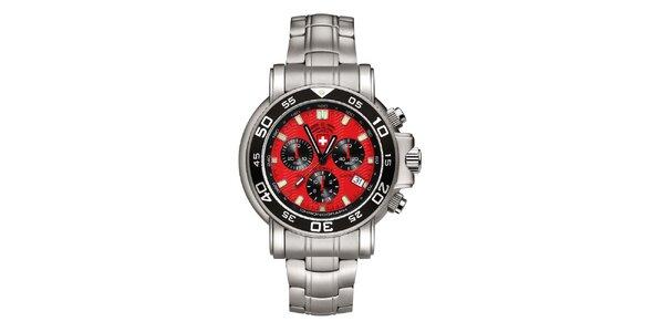 Pánske strieborné hodinky s chronografom a červeným ciferníkom Swiss Military