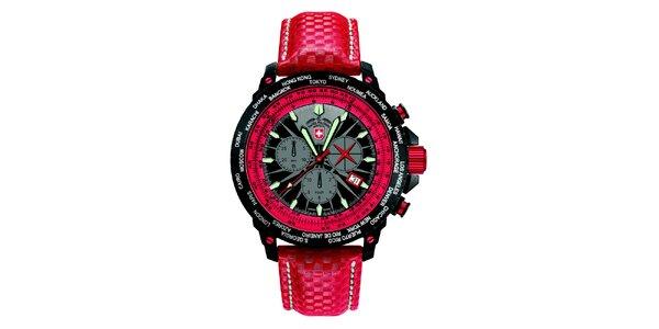 Pánske červené hodinky s chronografom Swiss Military