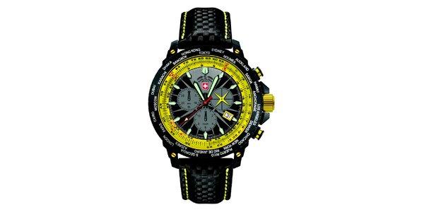 Pánske čierne hodinky s chronografom a žltými prvkami Swiss Military