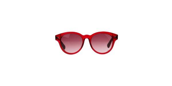 Dámske červené okuliare s pruhovanými stranicami Marc Jacobs