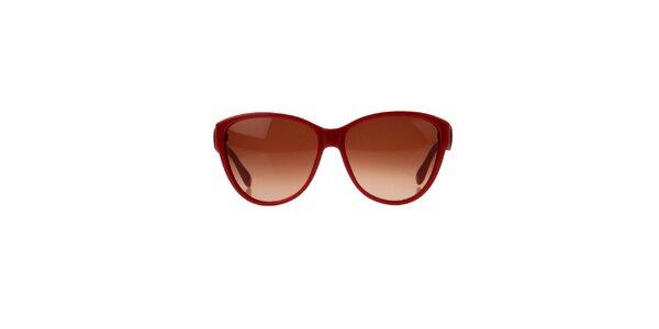 Dámske červené slnečné okuliare s ozdobnou stranicou Marc Jacobs