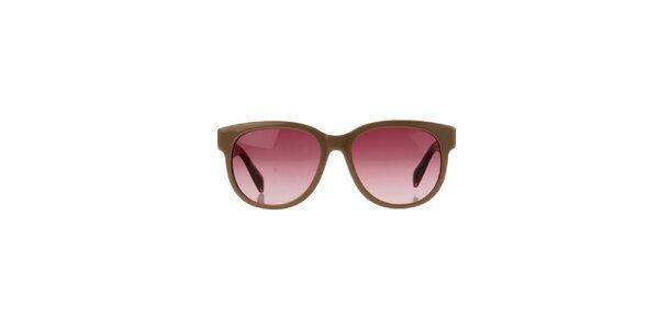 Unisex béžové slnečné okuliare s žíhanými stranicami Marc Jacobs