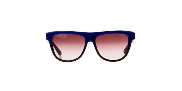 Unisex modré slnečné okuliare s pruhovanými stranicami Marc Jacobs