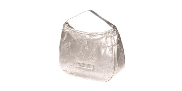 Dámska svetlo strieborná kabelka s reliéfnym povrchom Versace Jeans