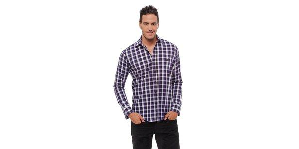 Pánska fialová kockovaná košeľa Bendorff