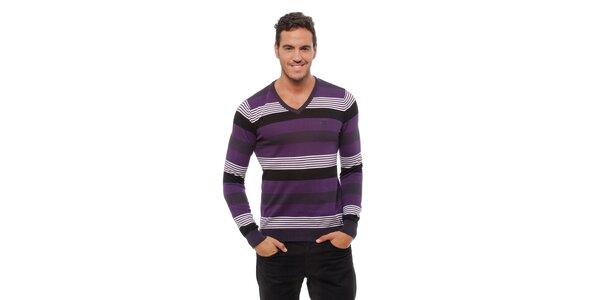 Pánsky fialový prúžkovaný sveter Bendorff