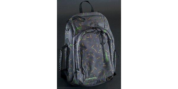 Šedý mestský ruksak Fundango s farebnou potlačou