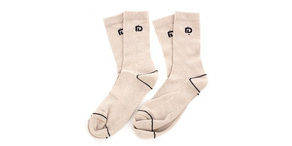 Pánske béžové ponožky s čiernymi detailmi Fundango - 2 páry