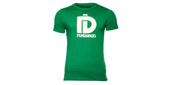 Pánske zelené tričko s krátkym rukávom a bielou potlačou Fundango