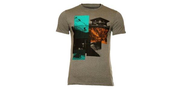 Pánske šedé vintage tričko s vysokohorskou potlačou Fundango