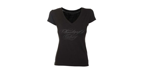 Dámske čierne tričko s véčkovým výstrihom Fundango