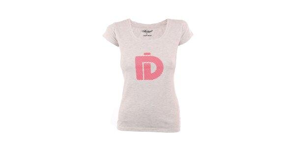 Dámske melírované tričko Fundango s ružovou potlačou